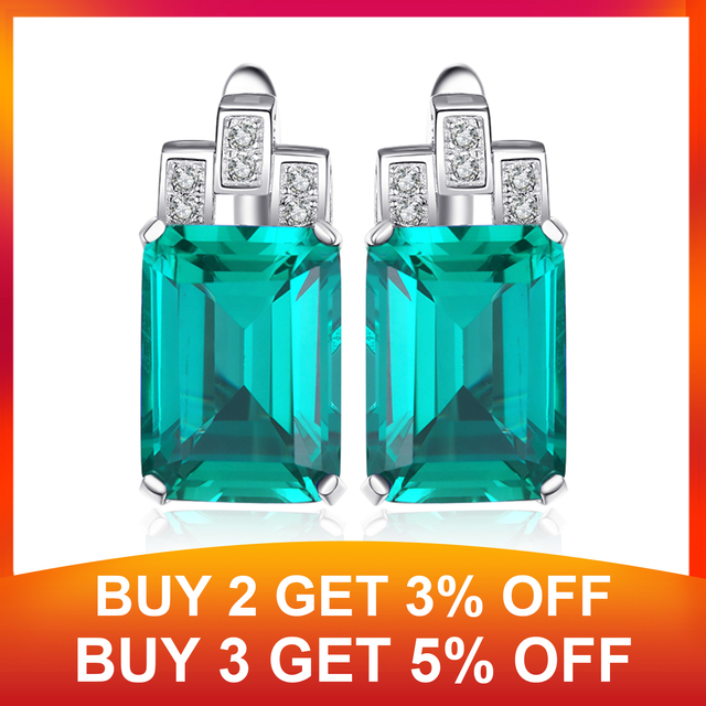 8ct Simulated Nano Emerald Hoop Earrings 925 Sterling Silver Earrings For Women Gemstones Korean Earings Fashion Jewelry 2019 1