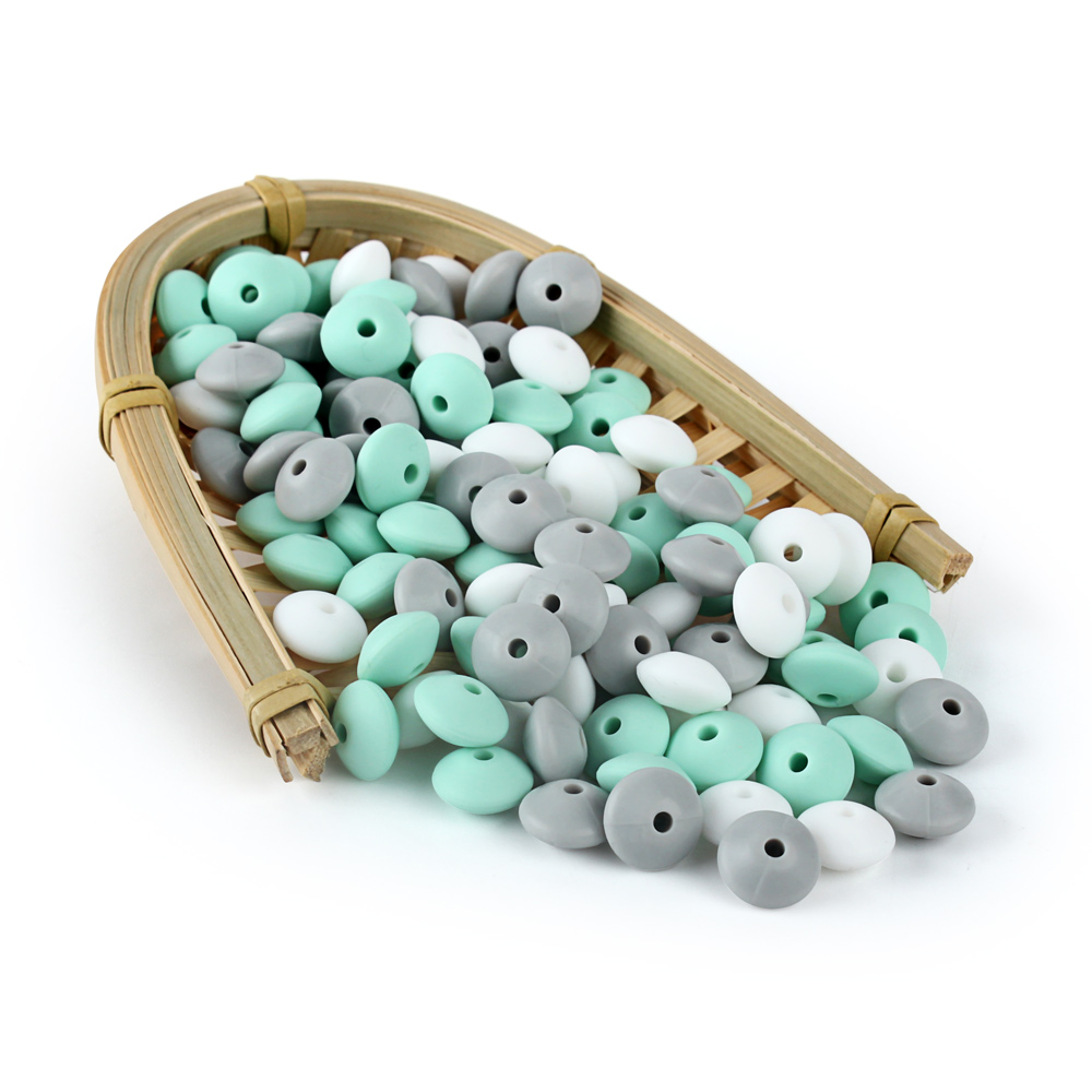 30pcs 12mm Lentils Silicone Beads Rodent Baby Teethers Beads Pearl Silicone Teething Toys DIY Pacifier Chain Baby Products