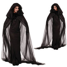 Halloween Night Herror Death Wandering Soul Female Ghost Costume Cosplay Evil Witch Black Long Dress(China)
