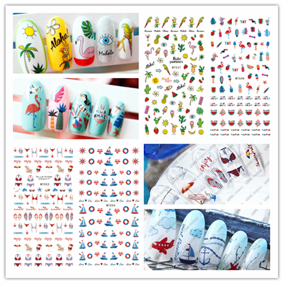 MT047-060 Japanese Korean New Style Summer Nail Sticker 3D Palm Nail Decals Nail Jewelry