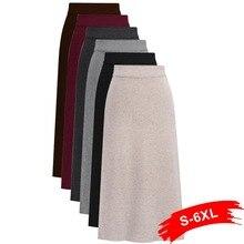 Plus Size Women Back Slit Bodycon Elegant Midi Pencil Skirt 4Xl 5Xl High Waist C