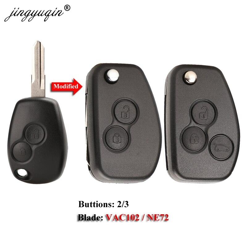 Jingyuqin VAC102 усовершенствованный корпус для ключей для Renault dacia Modus Logan Clio Espace Nissan 2BTN Флип складной дистанционный ключ дистанционный Брелок чехо...