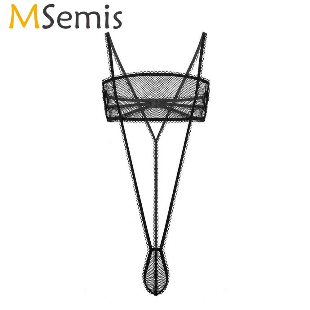 MSemis Erotic See Through Sheer Fishnet <font><b>Gay</b></font> Sissy <font><b>Lingerie</b></font> <font><b>Set</b></font> Tube Bra Top with Suspender Brief T Back Thong G-String Underwear image