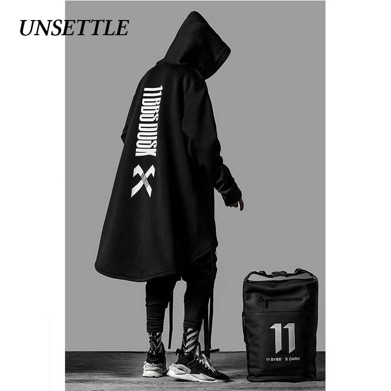 UNSETTLE japanese sweatshirt Mens Oversize Hoodies 긴 망토 힙합 고딕 Outwear Streetwear Coat 하라주쿠 스타일 남성상의