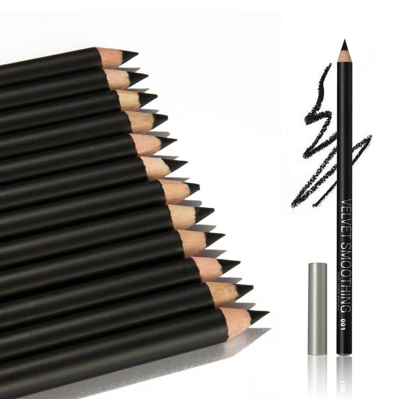 12pcs/lot Eyeliner Black Waterproof Long-lasting Portable Eye Liner Pencil Smooth Easy Makeup Pen High Quality