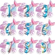 7pcs/set Mermaid Birthday Party Number Balloon Birthday Party Decorations Baby Shower Girl Wedding Balloons Mermaid Boy or Girl
