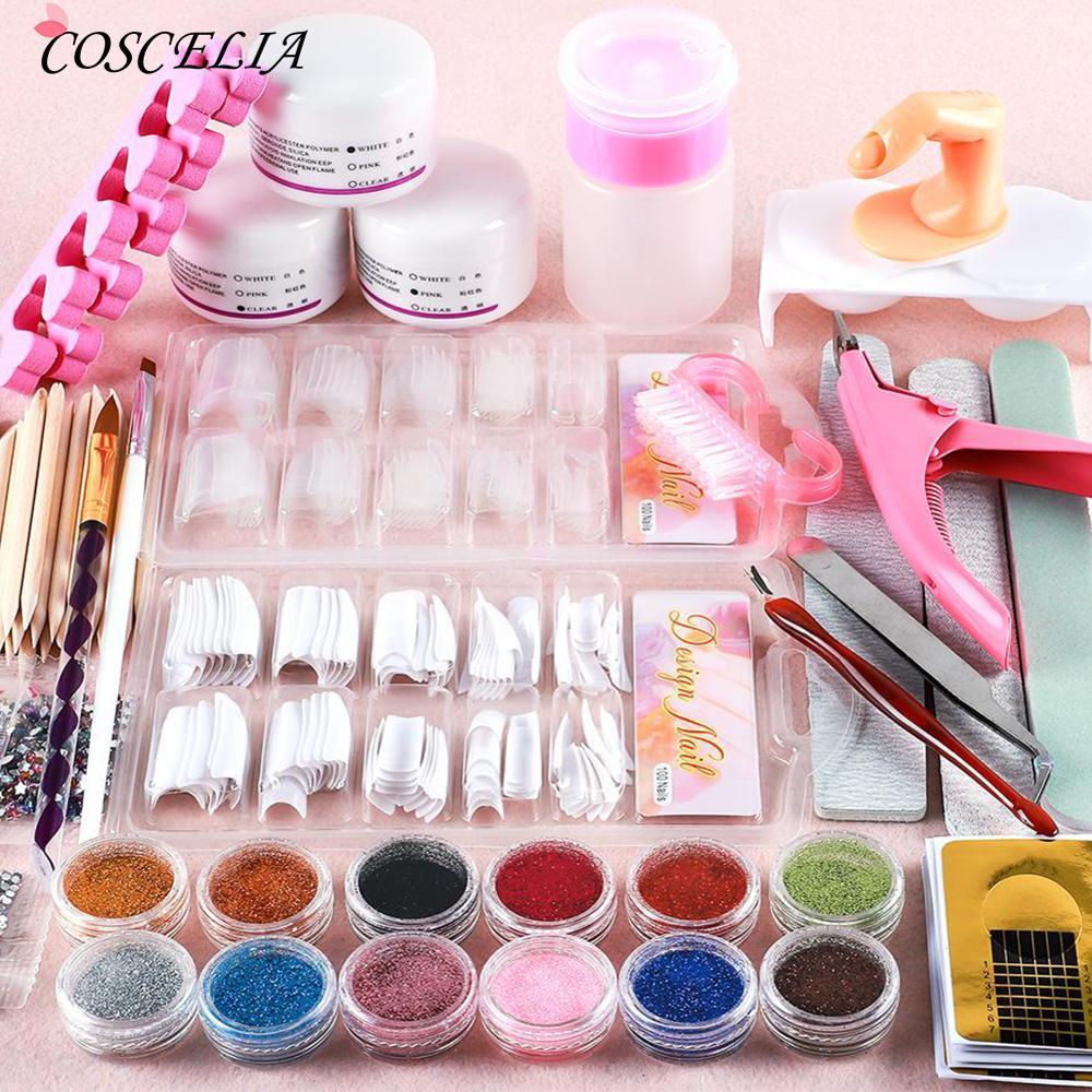 COSCELIA Acrylic Nail Kit All For Manicure Set Tools For Manicure Nail Kit Orange Sticks Brushes For Manicure Pusher Nail Art