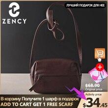 Zency 100% bandolera de piel auténtica Vintage para mujer, de alta calidad bolso de hombro, informal, suave