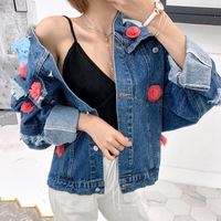 Photo Shoot 2019 Spring And Autumn INS South Korea New Style Color Floral Print Loose Fit with Holes Jeans Coat Women's