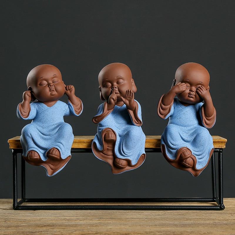 Buddha Statues Purple Sand Ceramic Ornaments Home Decoration Pottery Tea Pet Monk Three-no Figurines Handcrafts