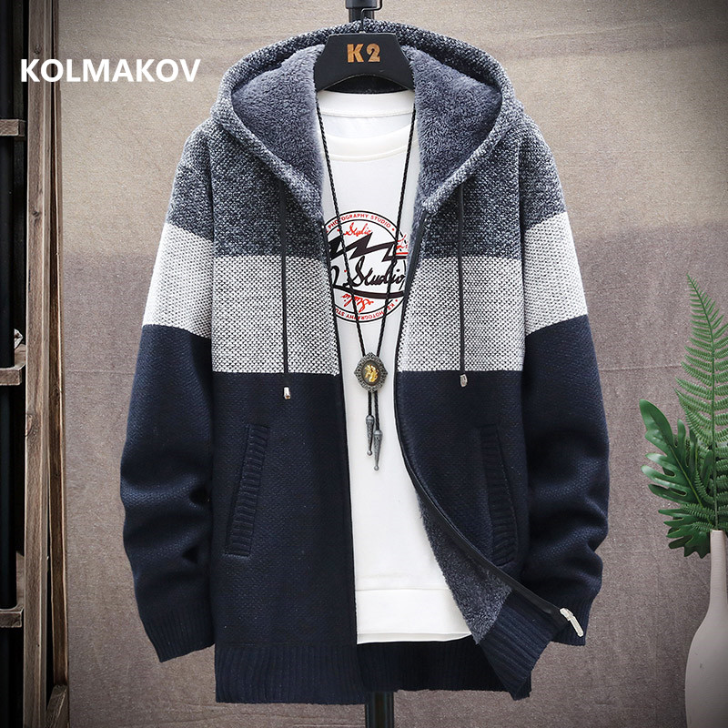 2020 winter Men's high quality Knitted thicken Mens Coats Hood Male Sweater Casual Keep warm Male Cardigan Sweaters Men
