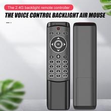 Multi controle remoto de voz 2.4g sem fio voar ar mouse giroscópio teclado sensor movimento mini controle remoto