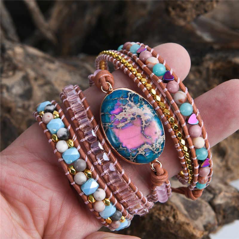 Pulseira de couro com pedra natural, frisada 5x camadas declaração arte bracelete joias de natal presentes