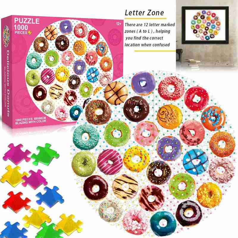 Round Puzzles 1000 Pieces Donuts/Colorful Arcs/Round Flag Jigsaw Paper Puzzles Toy For Adults Kids Gifts Puzzles Educational Toy