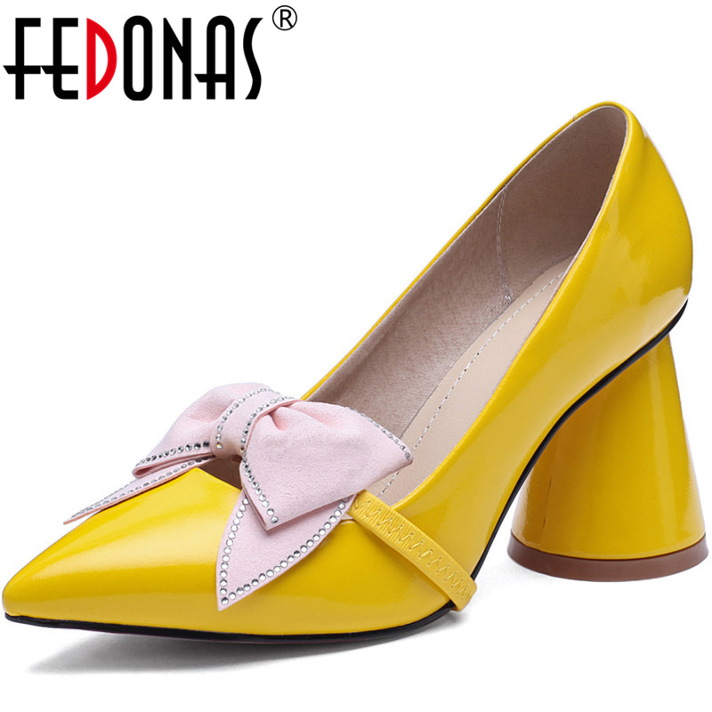 FEDONAS Sweet Spring Summe Thick Heels Pumps Butterfly Knot Women Shoes Brand Design Party Prom Pointed Toe 2020 New Shoes Woman