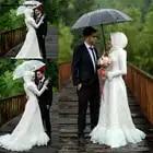 Moslemisches Hijab Hochzeit Kleider Langarm Elegante Spitze Appliques High Neck Brautkleider Nach Maß Plus Größe robe de mariee - 1