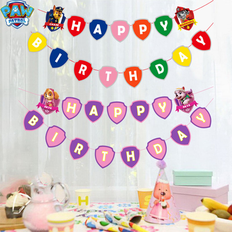 Paw Patrol Cartoon Pattern Birthday Holiday Party Children Birthday Party Supplies Party Set Event Decoration Kid Gifts 2D39