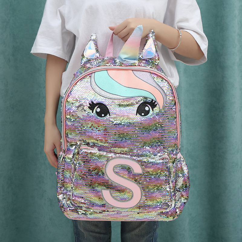 Unicorn Sequins Children's Backpack Kids School Bags For Teenage Girls Backpack Cartoon Cute Backpacks Large Mochila Infantil