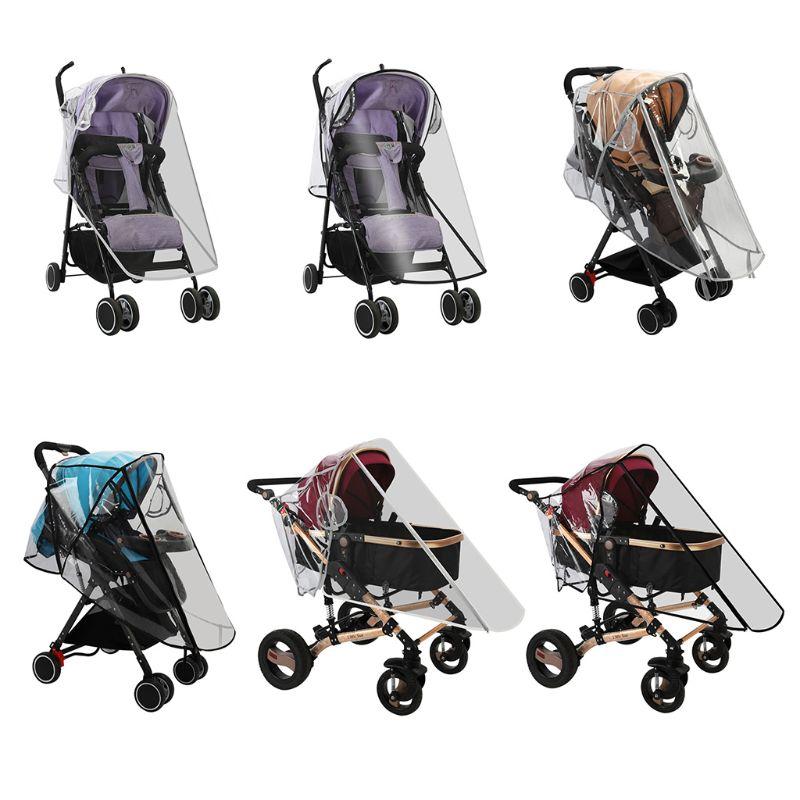Waterproof Rain Cover Transparent Wind Dust Shield Zipper Open For Baby Stroller