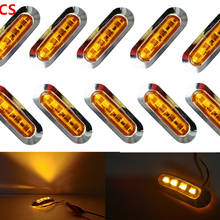 10x 10V-30V Amber 4LED Chrome Bezel 24V Side Marker Light Tail Lamp Auto Car Bus Truck Lorry Trailer caravan Clearance lights