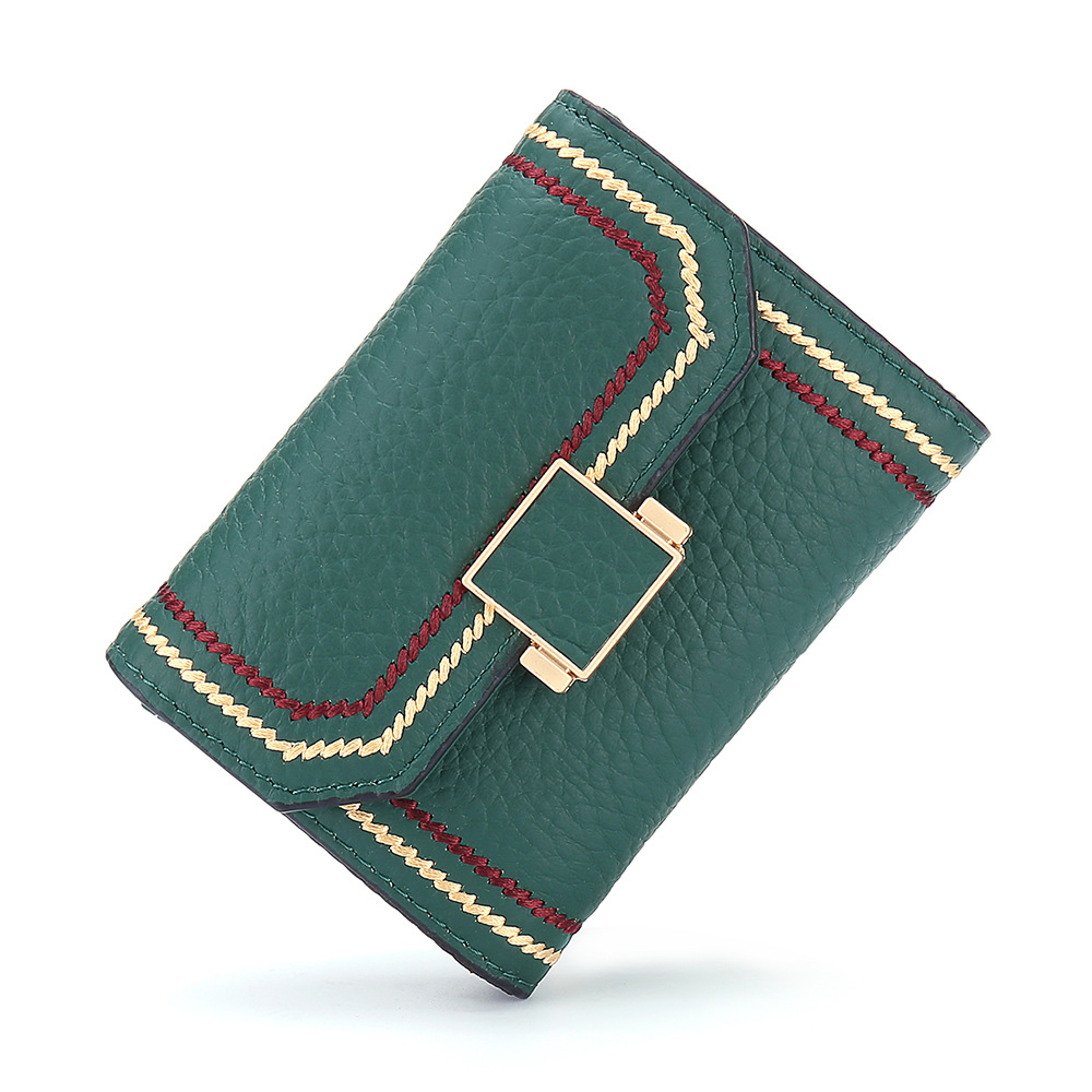 2019 Fashion New Products Car Suture Flip WOMEN'S Card Holder Dali Pattern Full-grain Leather Organ Small INS Card Clamp Fashion