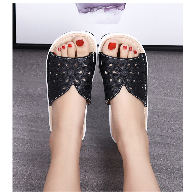 AH 1975-2020 Genuine Leather Womens Flat Slides Casual Hollows Summer Beach Flip Flops-12