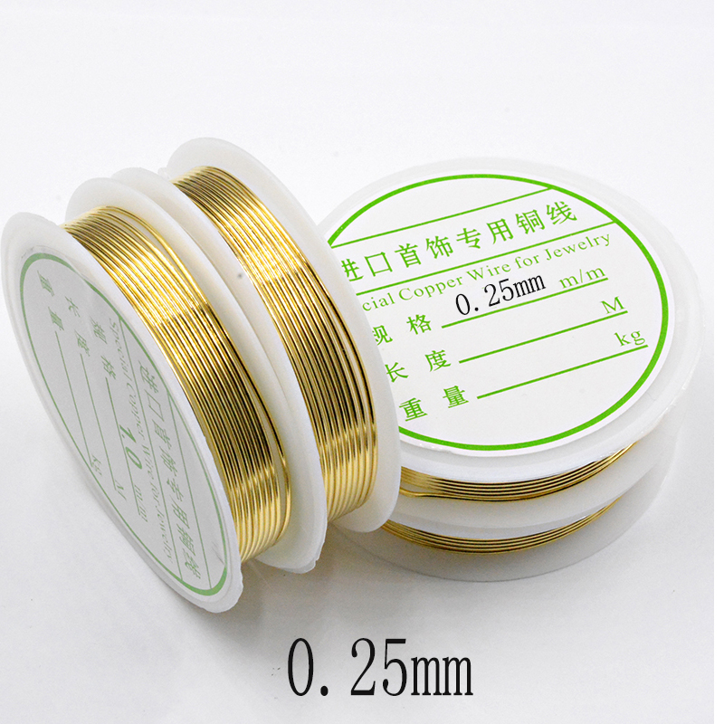 30-2M Gold Color Copper Wire 0.2/0.25/0.3/0.4/0.5/0.6/0.8/1.0mm DIY For Jewelry Making Supplies Bracelet&Necklace&Earrings