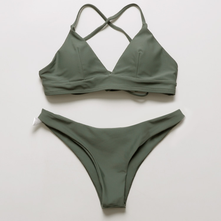 2020 Multi Rope Skinny Swimming Suit Sexy Bikini Swimwear Women Army Green two piece set bikini|Bikini Set|   - AliExpress
