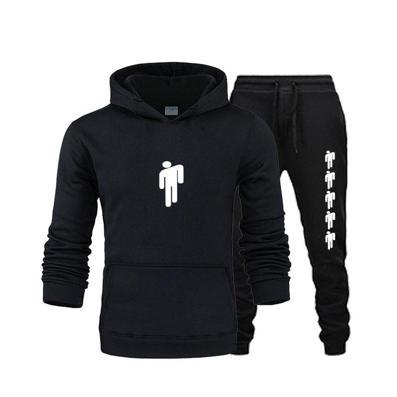 New Brand Hooded Sportswear Fashion Casual Hoodie Men's Sportswear Two-piece Wool Thick Warm Hoodie + Pants Sports Suit Male2019