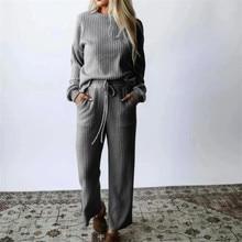 Conjunto de duas peças pulôver camisola agasalho feminino cintura alta malha perna larga calças femininas terno 2 peça conjunto feminino inverno 2020 traje