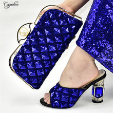 Beautiful royal blue African high heel sandal shoes with handbag sets decorated with sequins 398-1, heel height 10.5cm(China)