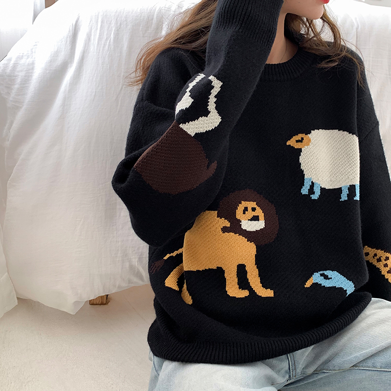 Mooirue Autumn Casual Kintting Sweater Funny Cartoon Animal Printed O Neck Vintage Streetwear Korean Vintage Harajuku Pullover