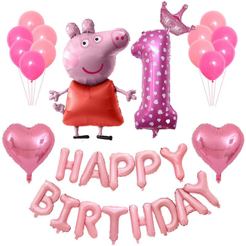 PEPPA PIG 29 Pcs/set Birthday Party Decorate Ballon Foil Cartoon Balloons Festival Decorations Birthday Gift Peppa Pig Toy