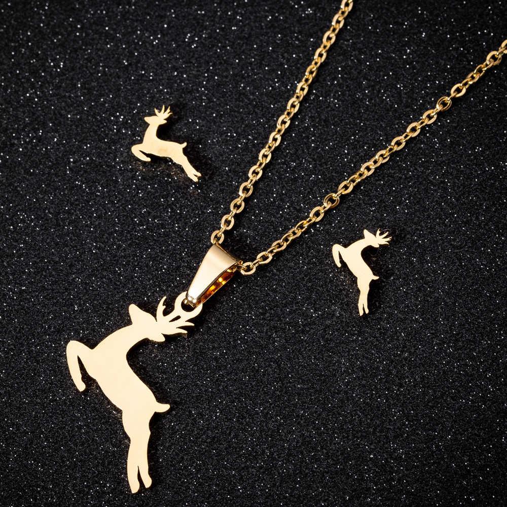 Yiustar złoty kolor zestaw biżuterii ze stali nierdzewnej Trendy słoń Monn Mickey naszyjnik wisiorek kolczyki zestaw biżuterii dla kobiet prezenty