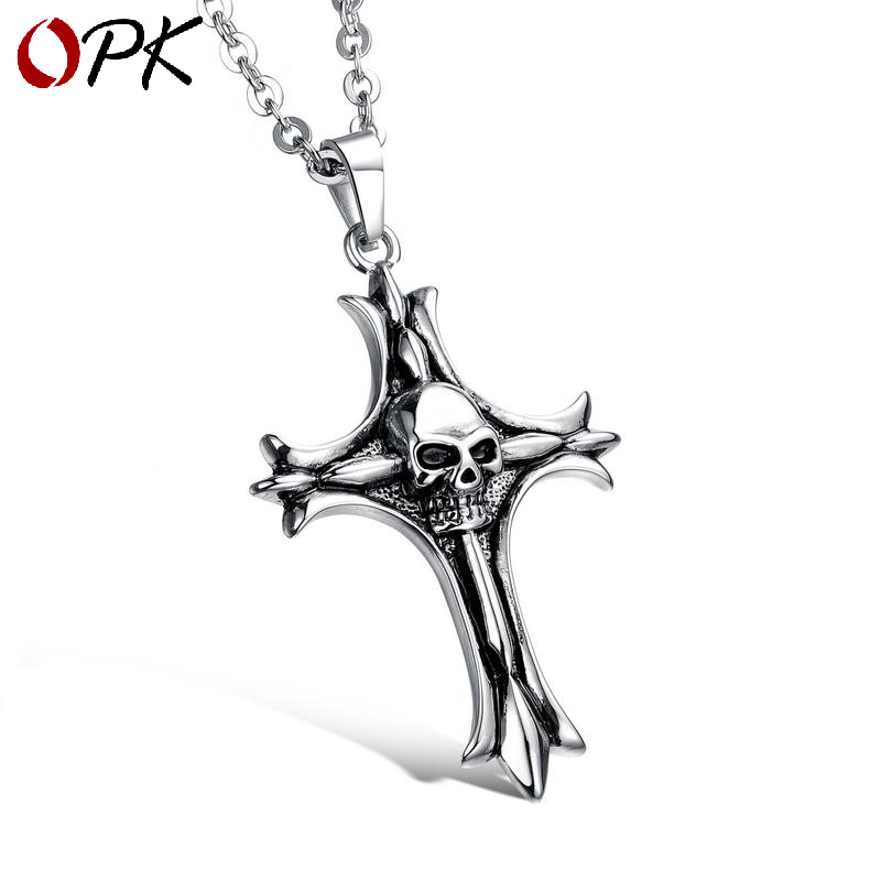 OPK Europe And America New Style Cross Skull Cool Necklace Men Titanium Steel Necklace Halloween Accessories