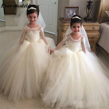 Vestido Lace Ball Gown Flower Girls Dresses 2019 Long Sleeves Illusion First Communion Dresses Puffy Girls Pageant Dresses flower girl dresses for weddings lace ball gown long sleeves kids evening gown first communion dresses for girls pageant dress