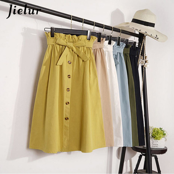 Jielur Summer High Waist Autumn Skirts Womens Solid Color Midi Knee Length Korean Skirt Female Elegant Button Pleated Skirt mayoral dresses 10685167 girl children fitted pleated skirt pink polyester casual solid knee length sleeveless sleeve