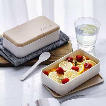 New 1200ml BPA Free Wooden Feeling Microwave  Double Layer Lunch Case Salad Bento Portable Box For Workers Student