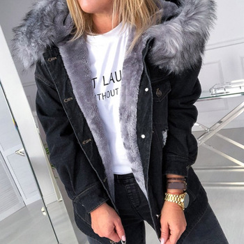 Cotton Padded Jacket 2020 Denim Hooded For Fall And Winter Wear Fashion Simple Casual Style Overcoat