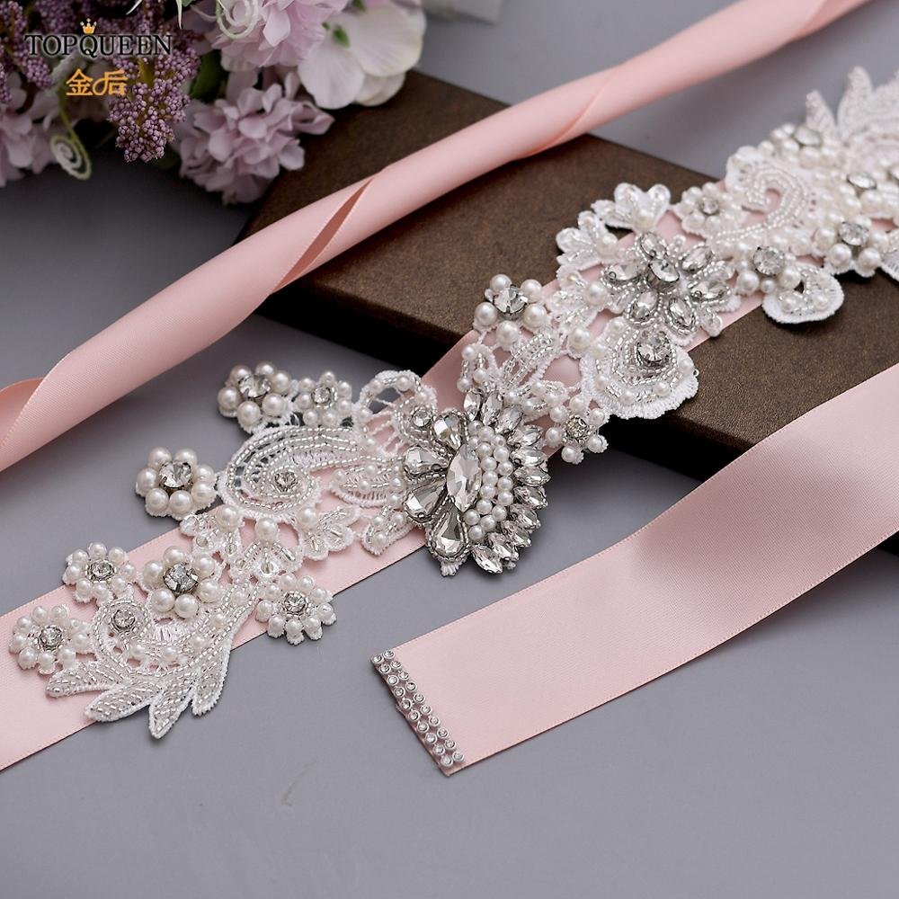 TOPQUEEN Pearl Bridal Belts and Sashes Formal Dresses for Women Rhinestones on a Ribbon Wedding Dress 2019 Champagne Belt S157