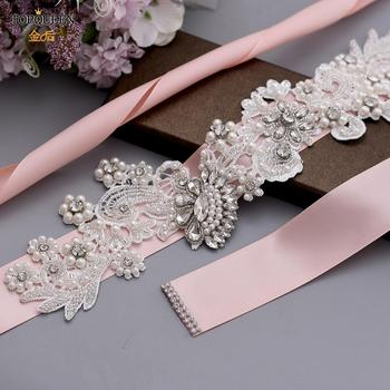 TOPQUEEN S157 Wedding Sash Bridal Belts Sparkly for Dress Plus Size Pear Ribbon Black Rhinestone Belt
