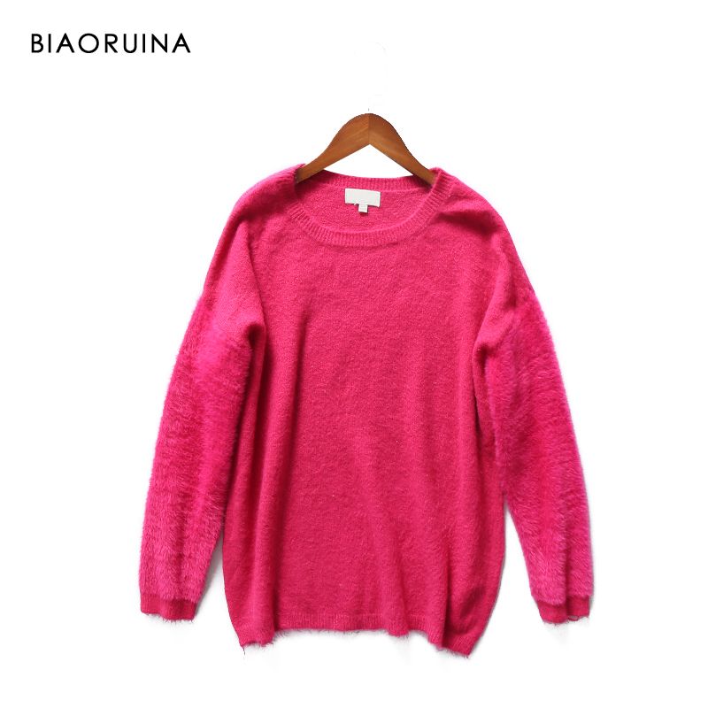 BIAORUINA Women's Rose Solid Soft Wool Blends Patchwork Casual Pullover Female Loose O-neck Comfortable Sweater High Quality