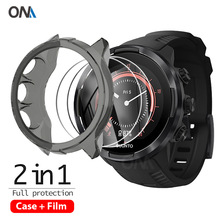 2+1 Protector Case + Screen Protector for Suunto 9 smart watch  Soft TPU Protective Cover Shell Tempered Glass Film