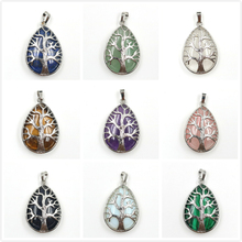 FYJS Unique Silver Plated Tree of Life Water Drop Tiger Eye Stone Pendant Rose Pink Quartz Jewelry цена