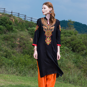 Cotton Embroidered Long Indian Kurti for Women