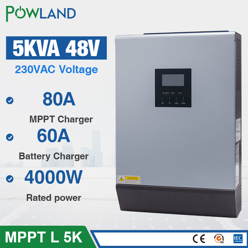 5KVA Solar Hybrid inverter 4000W 48Vdc to 230Vac Pure sine wave 50/60HZ with 48V 80A MPPT Solar Charger and 60A AC chargerInverters & Converters   -