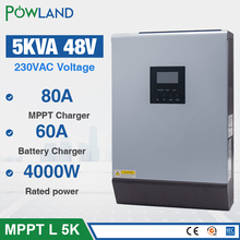 5KVA Solar Hybrid inverter 4000W 48Vdc to 230Vac Pure sine wave 50/60HZ with 48V 80A MPPT Solar Charger and 60A AC charger