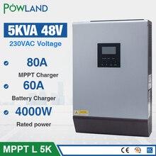 5KVA słonecznego hybrydowy falownik 4000W 48Vdc do 230Vac czysta fala sinusoidalna 50/60HZ z 48V 80A ładowarka słoneczna MPPT i 60A ładowarka AC