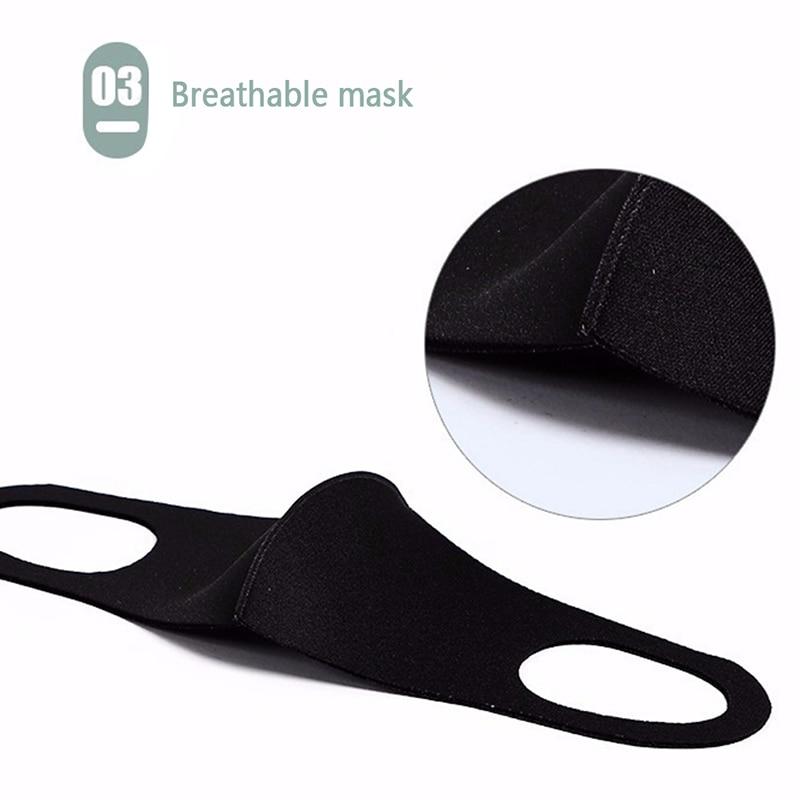 Fashionable Non-disposable Dust-proof Breathable Masks Black 1 Pack Individually Reusable Washable Black Masks 6