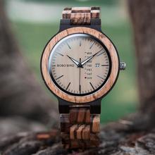 BOBO PÁSSARO Antigo Mens Relógios com Data e Semana de Exibição de Madeira Caixa de Presente relogio masculino Relógio Marca de Luxo em Madeira